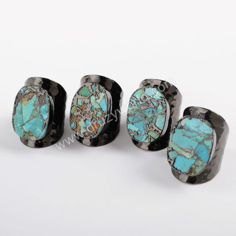 Gunmeatal Plated Natural Copper Turquoise Band Ring Mixed Gold Veins B1489