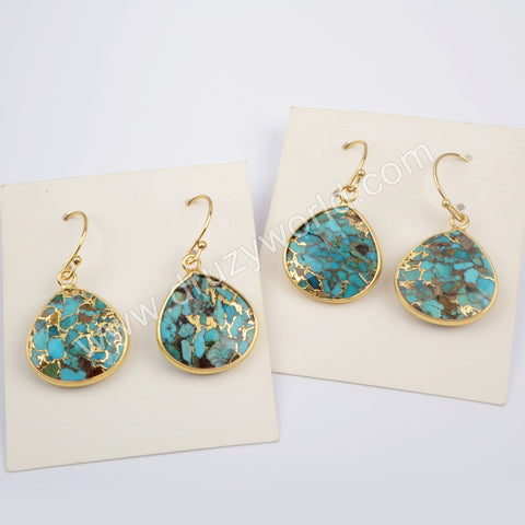 Teardrop Gold Plated Copper Turquoise Earrings G1858