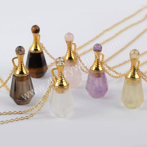 "26"" Gold Natural Stone Perfume Bottle Necklace WX1223-N"