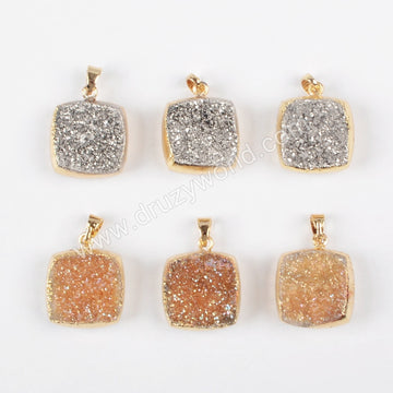 Square Gold Plated Natural Agate Titanium Champagne & Silver Druzy Pendant Double side druzy G1078