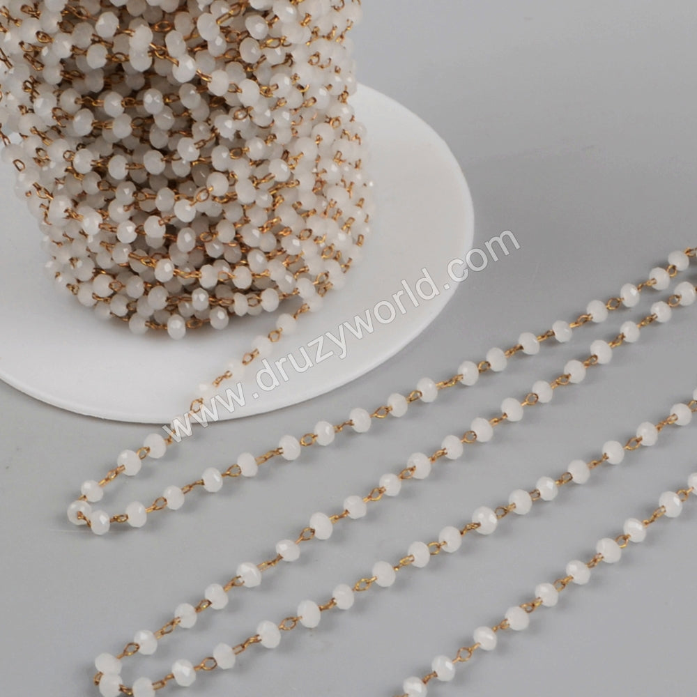 5m/lot,3mm White Glass Beads Chains  JT178
