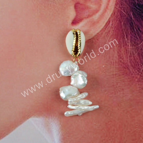 Natural Pearl Sea Shell Earrings Fashion Jewelry For Women Gold Plated HD0196
