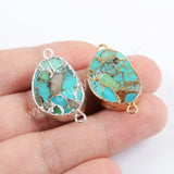 Mango Shape Gold Plated Copper Natural Turquoise Connector G1707