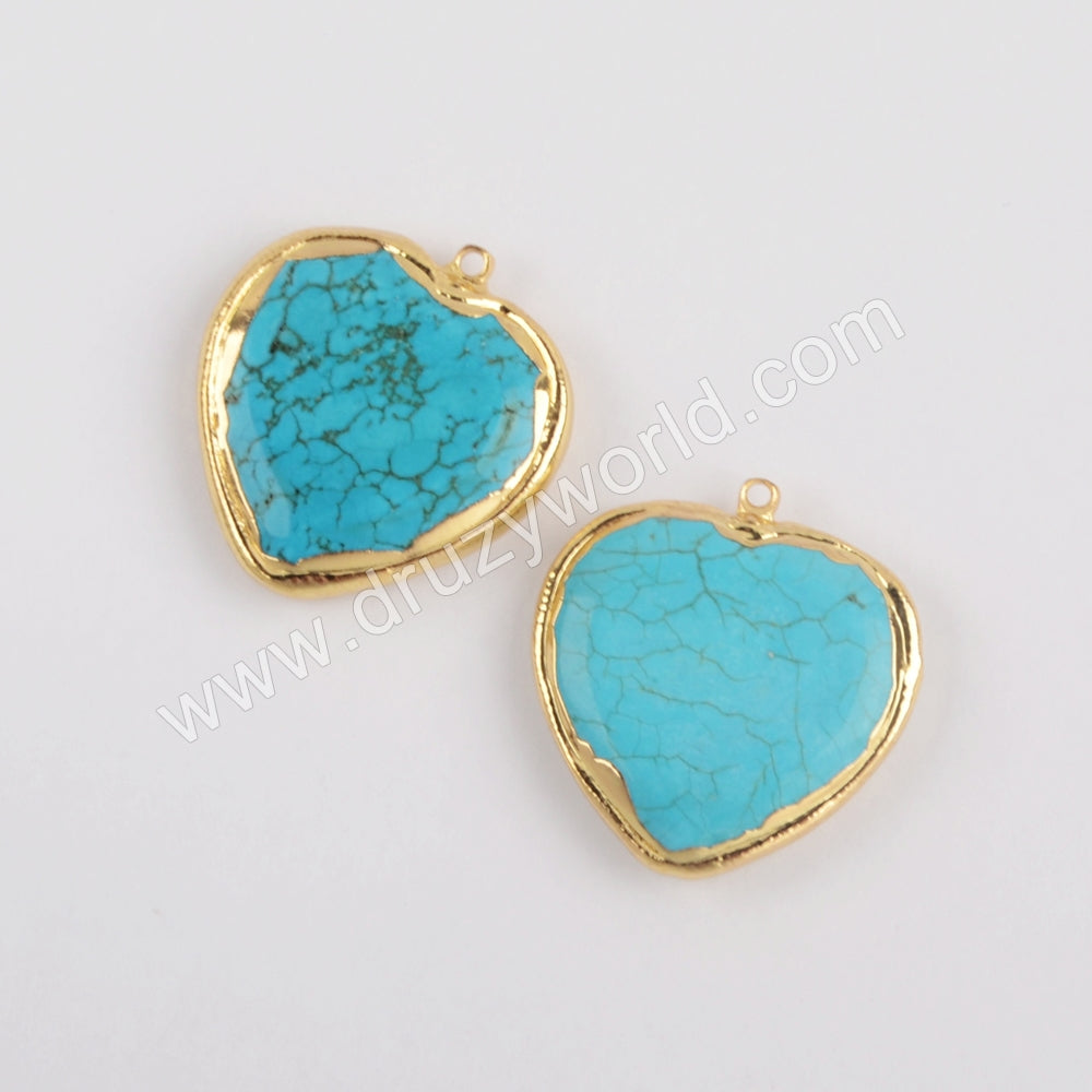 Gold Plated Heart Shape Blue Howlite Turquoise Charm G1873