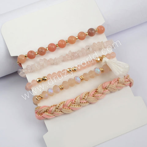 5pieces/set Pink Color Beaded Bracelet Set WX1186