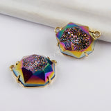 Titanium Druzy Gold Prong Set White Drusy Connector Stone ZG0331