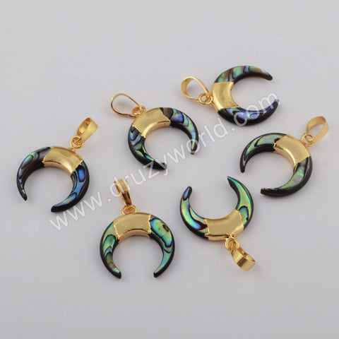 Crescent Gold Plated Abalone Shell Pendant G1769