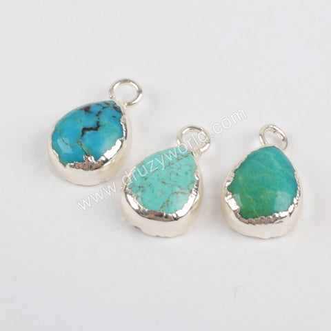 Natural Turquoise Pendant Charm Jewelry Making Silver Plated S1371