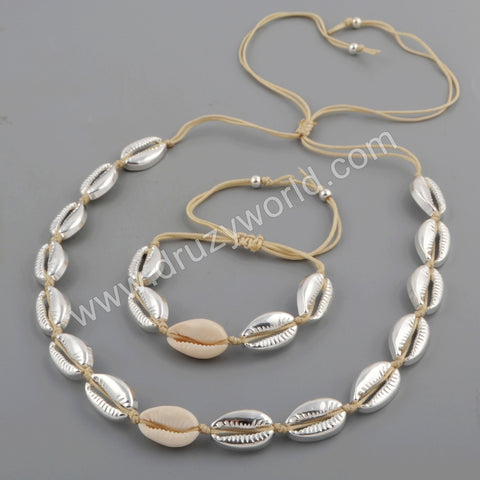 Silver Plated Cowrie Shell Adjustable Bracelet and Necklace WX1096