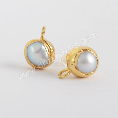 Gold Plated Natural Pearl Stud Finding PJ417