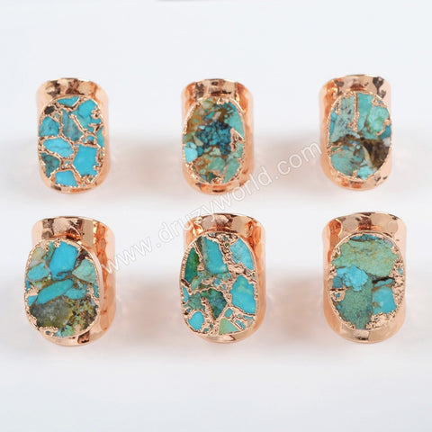 Rose Gold Plated Natural Copper Turquoise Band Ring Mixed Gold Veins  R1489