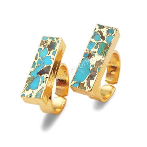 Rectangle Gold Plated Copper Turquoise Ring G1542