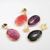 Gold Plated Bezel Drop Slice Agate Earring WX1176