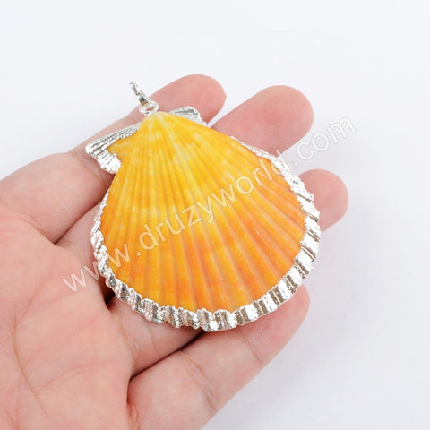 Rainbow Scallops Pendant Charm Fashion Jewelry Making Silver Plated S1696