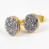 Oval Gold Plated Natural Agate Titanium Rainbow Druzy Stud Earrings G1276