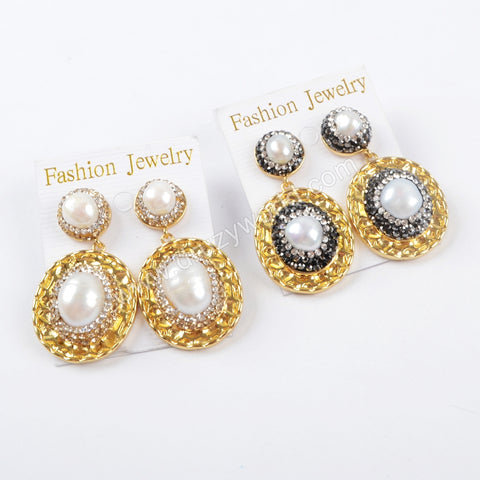 Rhinestone Pave Crystal Pearl Oval Stud Earrings JAB821