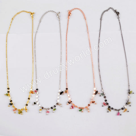 Natural Multi-kind Stones Metal Chains Necklace WX1320