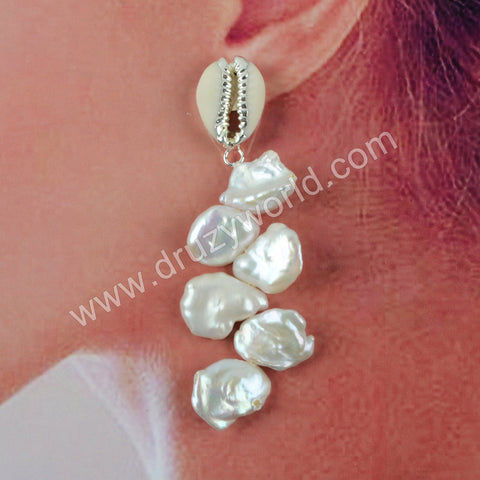 Natural Pearl Sea Shell Earrings Silver Plated HD0197