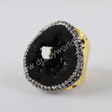 Gold/Silver Plated Natural Black Agate Geode Slice Rhinestone Ring JAB970