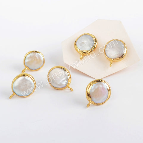 Gold Plated Natural Pearl Stud Finding PJ418