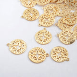10pieces/lot Gold Plated Brass Carved Stars Charm PJ105