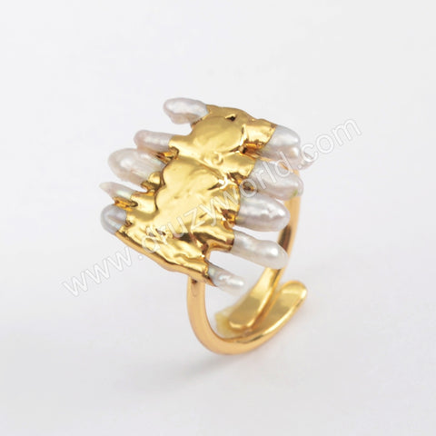 Gold Plated Natural Pearl Adjustable Ring G1859