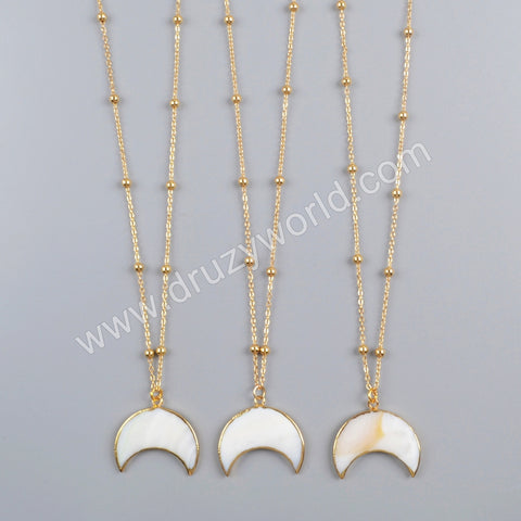 "20"" Crescent Gold Plated White Shell Necklace G1726-N"