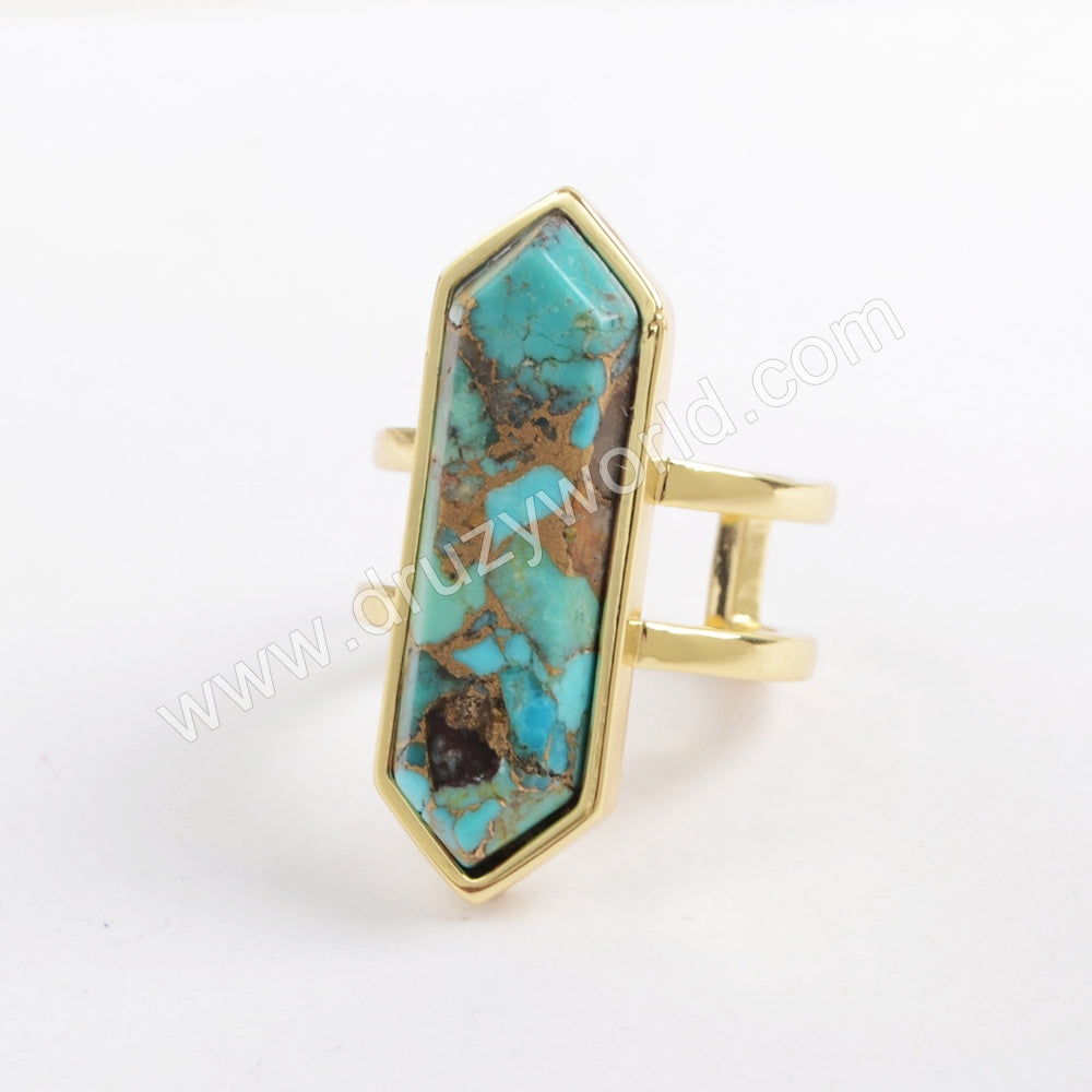 Hexagon Gold Plated Bezel Copper Turquoise Open Ring ZG0378