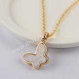 "16""Natural Agate Titanium Butterfly Druzy Necklace Gold Plated WX1365-N"