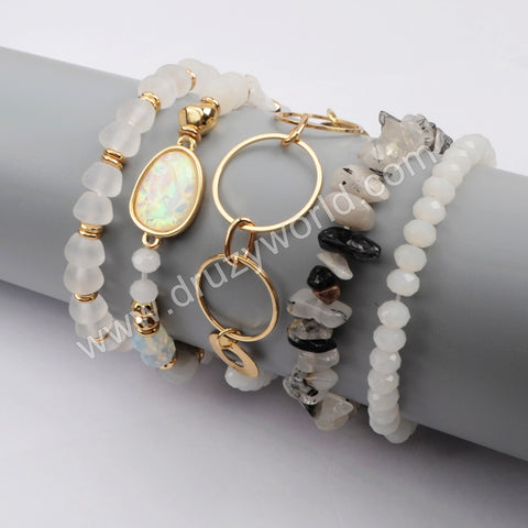 5pieces/set White Color Beaded Bracelet Set WX1187
