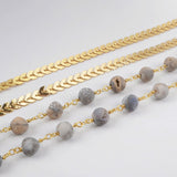 Natural Agate Titanium Druzy Beads Long Necklace Silver Plated S1358
