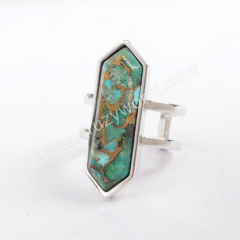 Bezel Copper Turquoise Open Ring Turquoise Rings Silver Pated ZG0378