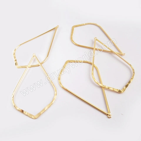 5pieces/lot,Gold Plated Brass Teardrop Charm PJ123