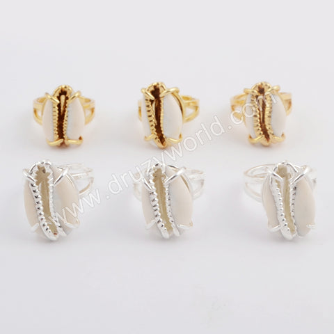 Gold Plated Bezel Cowrie Shell Ring ZG0398