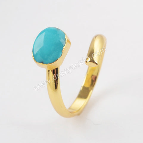 Gold Plated Natural Turquoise Wrap Ring G1490-1