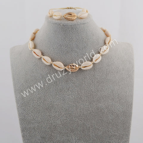 Gold Cowrie Shell Adjustable Bracelet and Necklace WX1097