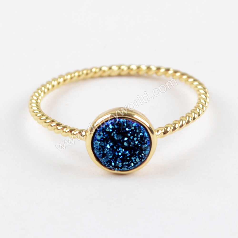Round Gold Plated Natural Agate Titanium Rainbow Druzy Bezel Ring ZG0285