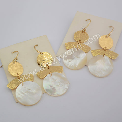 Round Gold Plated White Shell Earrings G1860