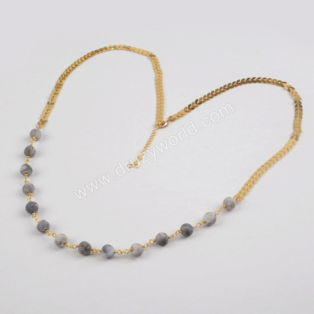 Gold Plated Natural Agate Titanium Druzy Beads Long Necklace G1358