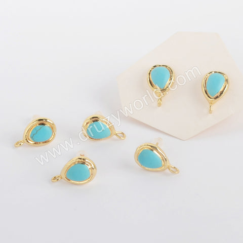 Gold Plated Drop Natural Turquoise Stud Finding PJ419