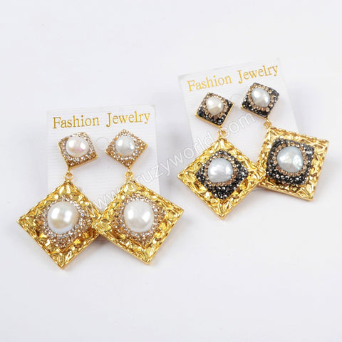 Rhinestone Pave Crystal Pearl Diamond Stud Earrings JAB822