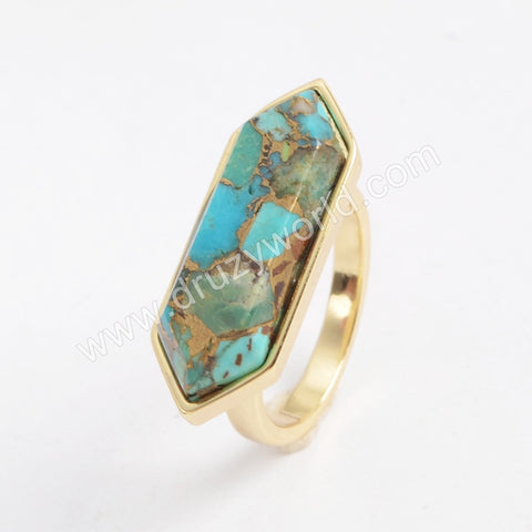 Hexagon Gold Plated Bezel Copper Turquoise Ring ZG0379
