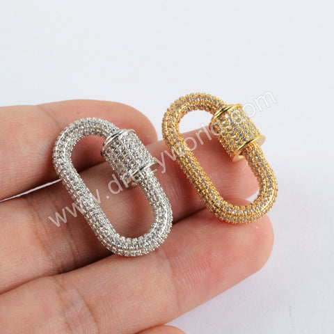 CZ Micro Pave Metal Clasp Charm Making Jewelry WX1307