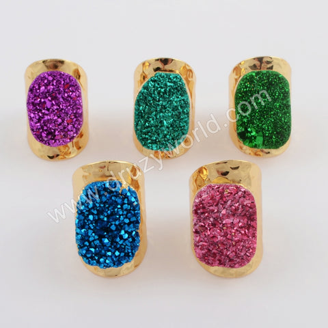 Gold Plated Natural Agate Titanium Rainbow Druzy Band Ring G1737