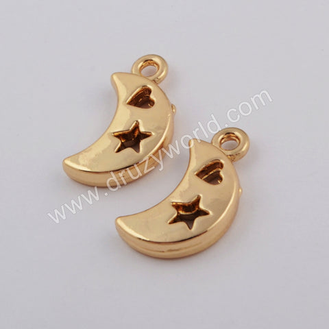 10 pieces/lot,Crescent Gold Plated Brass Charm Making Jewelry Supply PJ353
