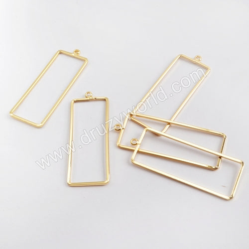 10pcs Wholesale Gold Plated Brass Rectangle Charm PJ124