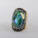 Natural Crystal Rhinestone Ring Women Rings Gold/Silver Plated JAB971