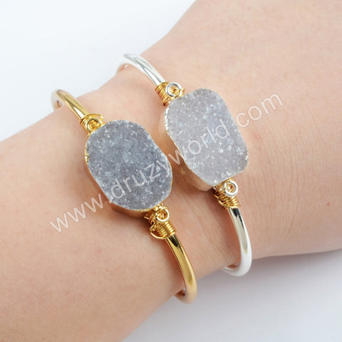 Oval Gold Plated Natural Agate Druzy Bangle G1708