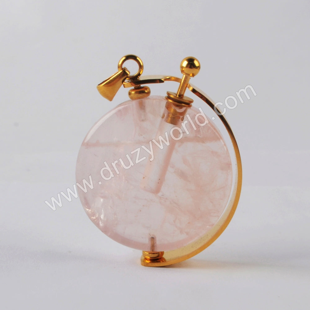 Natural Multi-kind Stones Perfume Bottle Pendant Gold Plated WX1304