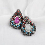 Double side Rhinestone Pave Drop Natural Agate Boho Beads JAB549